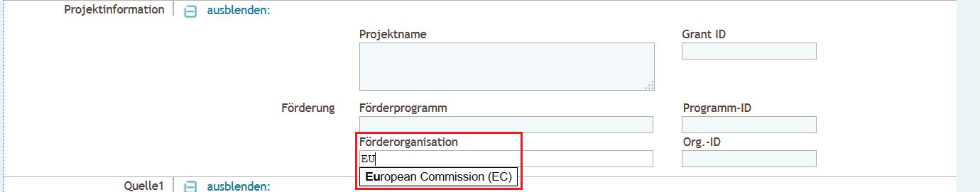 Detaillierte Eingabe - Projektinformation Förderorganisation Autosuggest