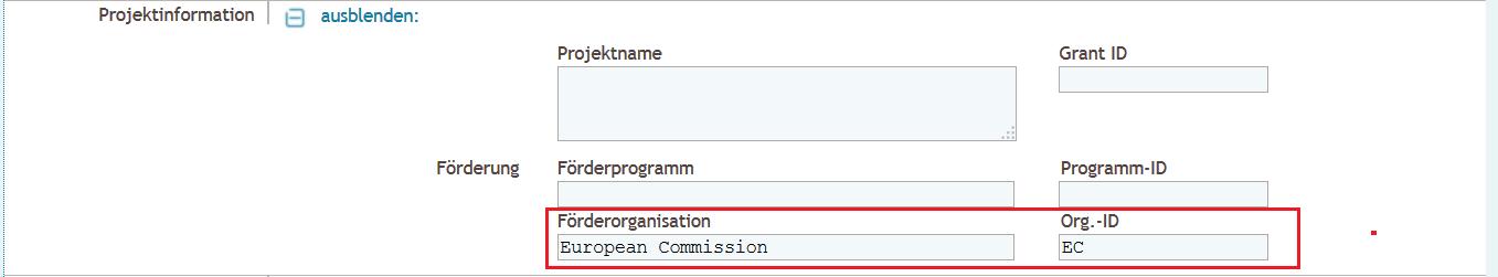 Detaillierte Eingabe - Projektinformation Förderorganisation ausgefüllt